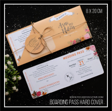 undangan unik model boarding pass hard cover